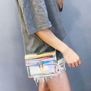 Handbags - Multicolor Holographic Mini Crossbody Bag - Clutch